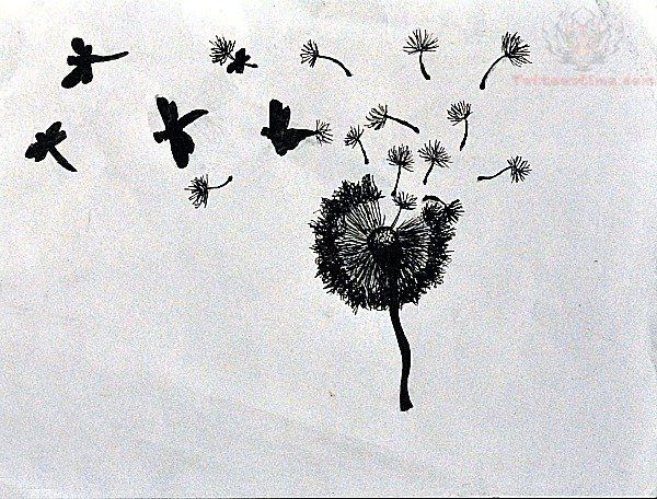 Dandelion Birds Tattoo Design
