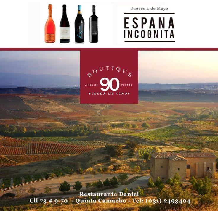 Los invitamos a una ruta por España Incognita, 4 Platos y 4 vinos! El Jueves 4 de Mayo en nuestras Noches Maridadas de Boutique 90 Tienda de Vinos http://mailchi.mp/daniel/vn0vkeqoxr