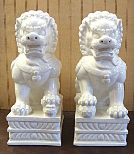 Pair-White-Glazed-Foo-Dog-Chinese-Porcelain-Statue-13-h-x-8-w