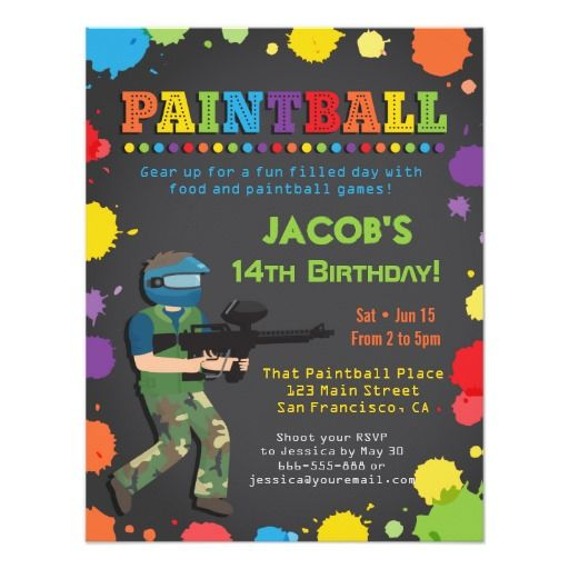327 best teens birthday party invitations images on pinterest colorful paintball birthday party invitations stopboris Image collections