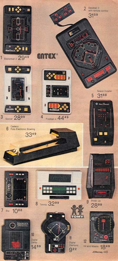 Handheld electronic games from a 1980 catalog. #1980s #toys http://www.retrowaste.com/1980s/toys-in-the-1980s/