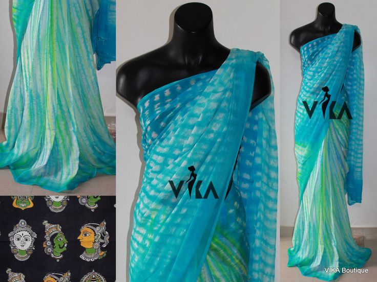 Pure chiffon tie and dye saree comes with kalamkari blouse