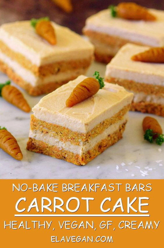 No-bake carrot cake bars recipe. These bars are great for breakfast or as a dess…