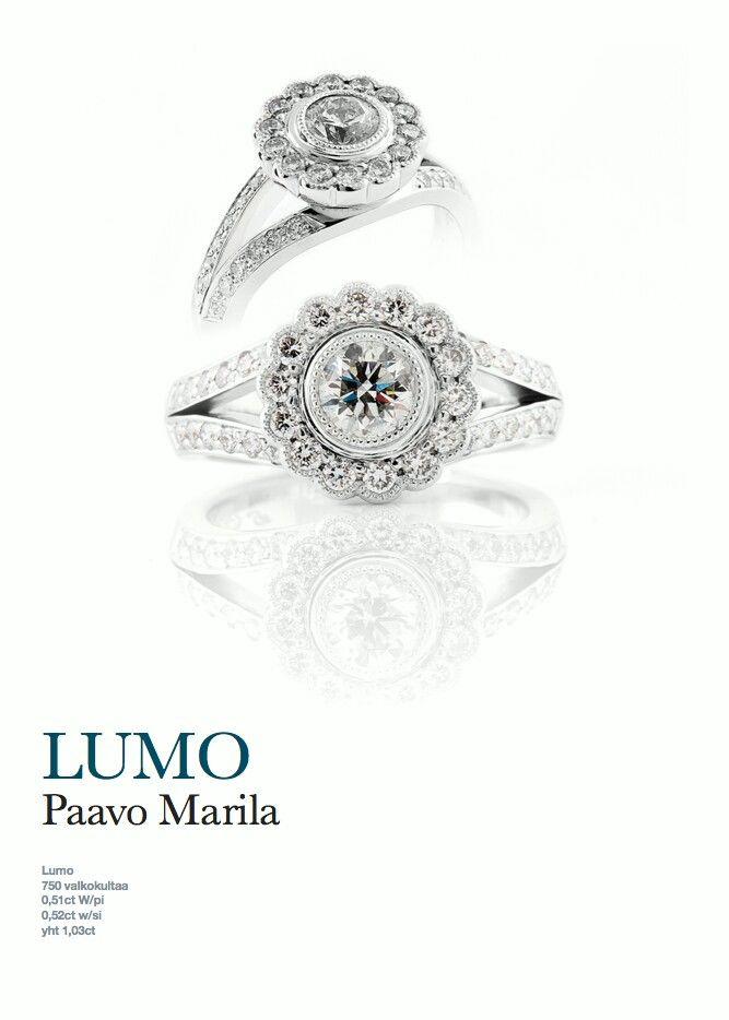 LUMO - sormus. Desing by Paavo Marila (E.Lindroos) Pikkuveljen suunnittelema sormus. Olen nähnyt sormuksen livenä ja on aivan mielettömän upea. Itselle tekeillä/tilauksessa ko. sormus, mutta värillisillä kivillä.