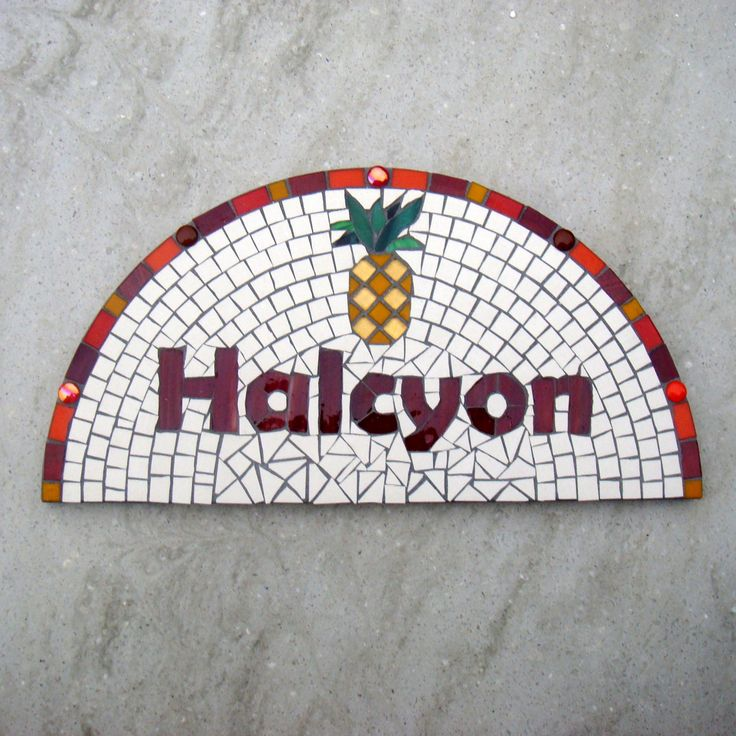 House Name plaque, street address, sign, Pineapple house plaque, mosaic house name, yard art, custom house sign, nameplate, bespoke name by FunkyMosaicsUK on Etsy