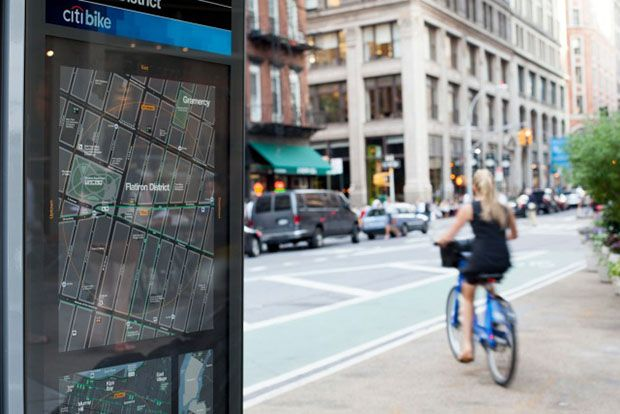 Maps are already installed on the new CitiBike bike-sharing kiosks.