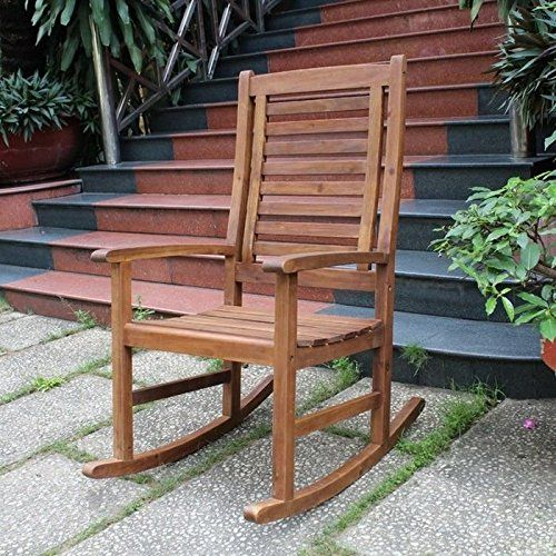 International Caravan Palmdale Acacia Contemporary Outdoor Rocking Chair