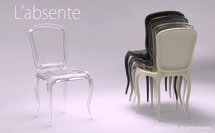 L'absente chair for Morosof Furniture manufacture Zhongshan - China 2015  Classic furniture design meets new process and materials. A simplified take on 18th century furniture. Available March 2015