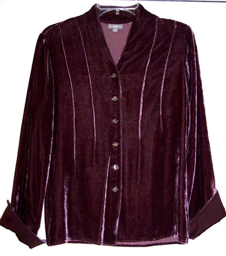 J jill top xs plum purple soft rayon silk blend velvet for Red velvet button up shirt