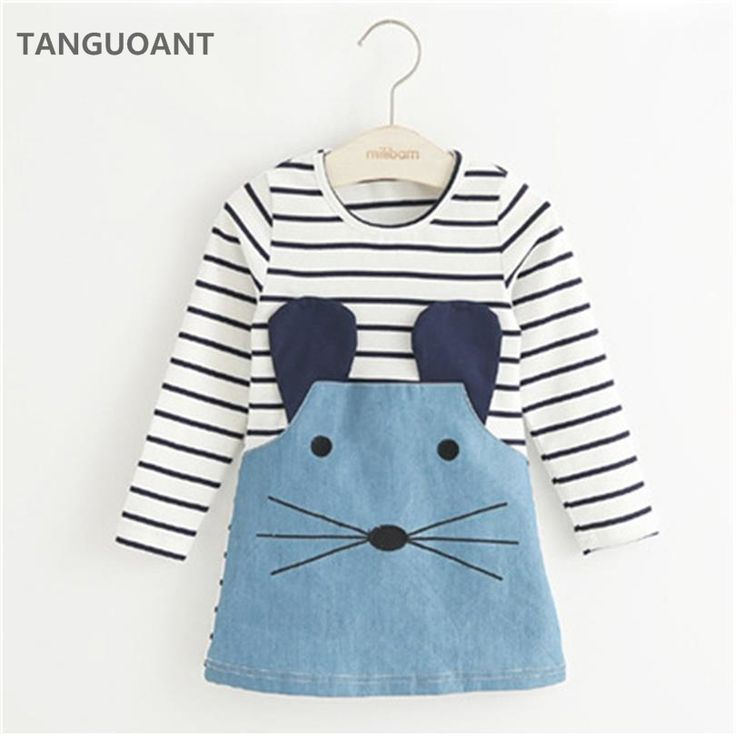 TANGUOANT Striped Patchwork Character Girl Dresses Long Sleeve Cute Mouse Children Clothing Kids Girls Dress Denim Kids Clothes //Price: €8.42 & FREE Shipping //   #fashion #baby #clothes #trendy #2017