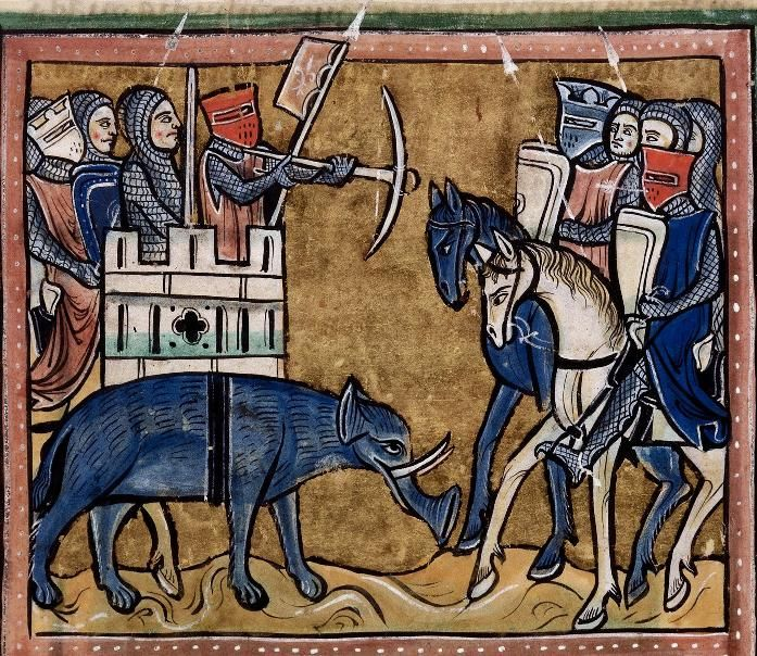 Folio 11v: The Rochester Bestiary c.1230, copy from c.1230AD, Southeastern Endland. Manuscript Royal 12 F XIII
