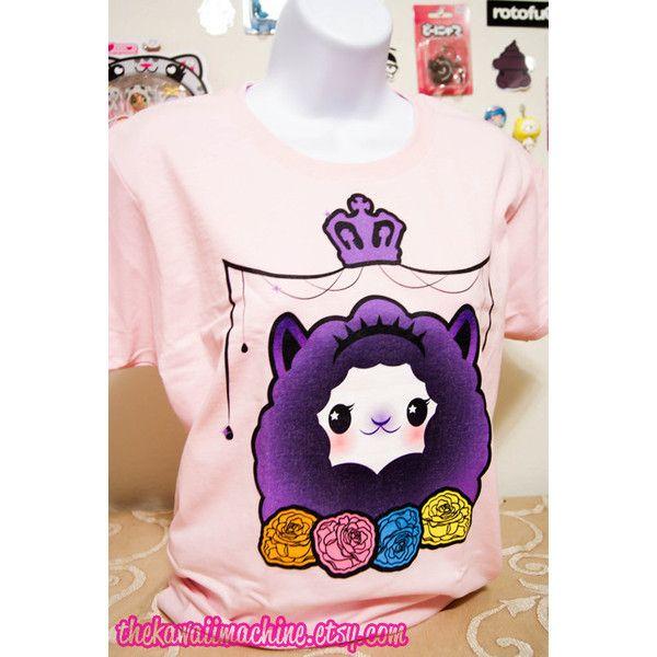 Pastel Goth Kawaii Alpaca Fairy Kei Womens T Shirt S through 2XL (31 AUD) ❤ liked on Polyvore featuring tops, t-shirts, multi color t shirts, goth t shirts, purple shirt, gothic t shirts and rose shirt