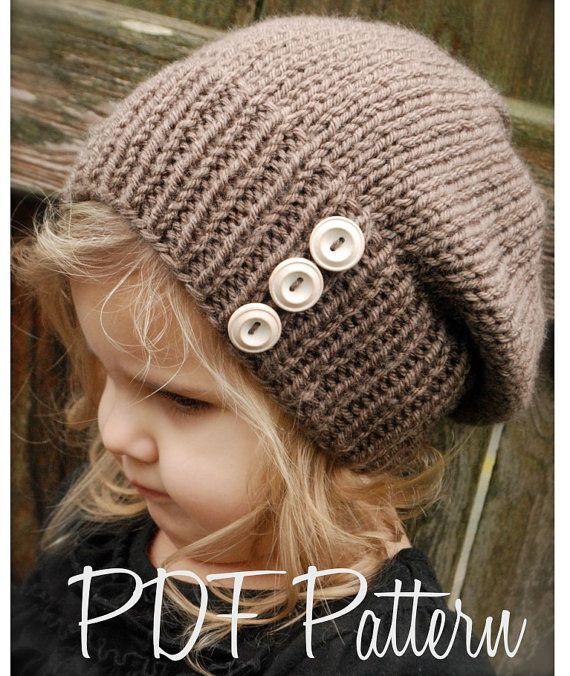 Knitting PATTERNThe Raevyn Slouchy Toddler Child por Thevelvetacorn