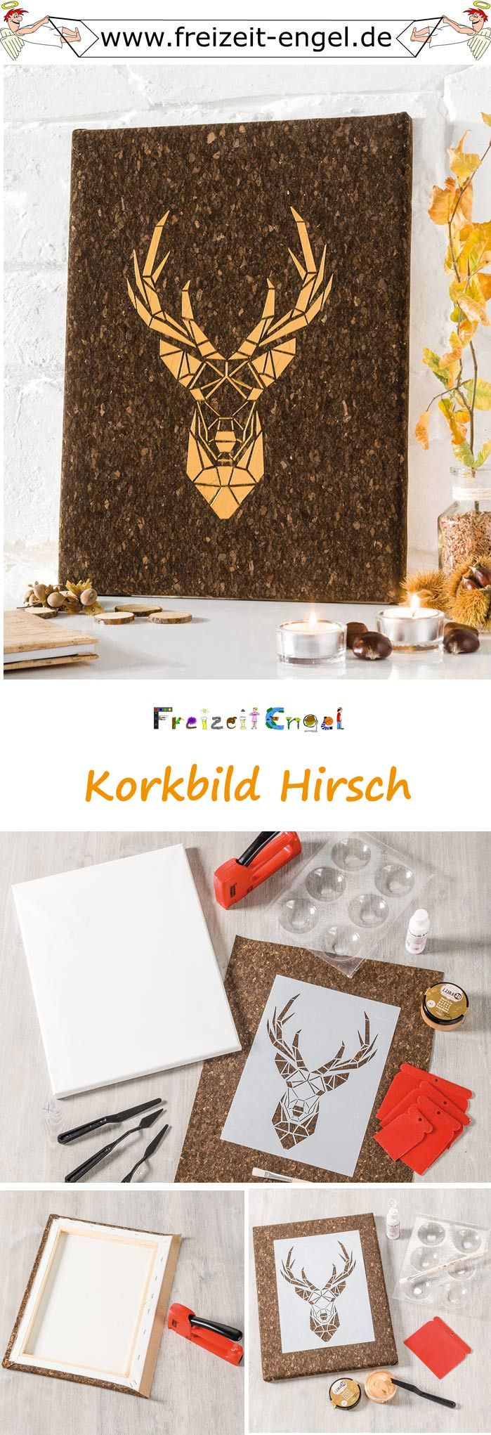 """Korkbild Hirsch (Idee mit Anleitung – Klick auf """"Besuchen""""!) -"""