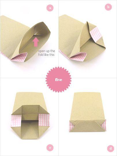 Otro tutorial para bolsas de papel, estas con el lateral de un papel distinto al del frontal.