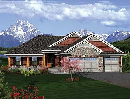 Craftsman ranch with sunroom 89852ah craftsman for Ranch house plans with sunroom