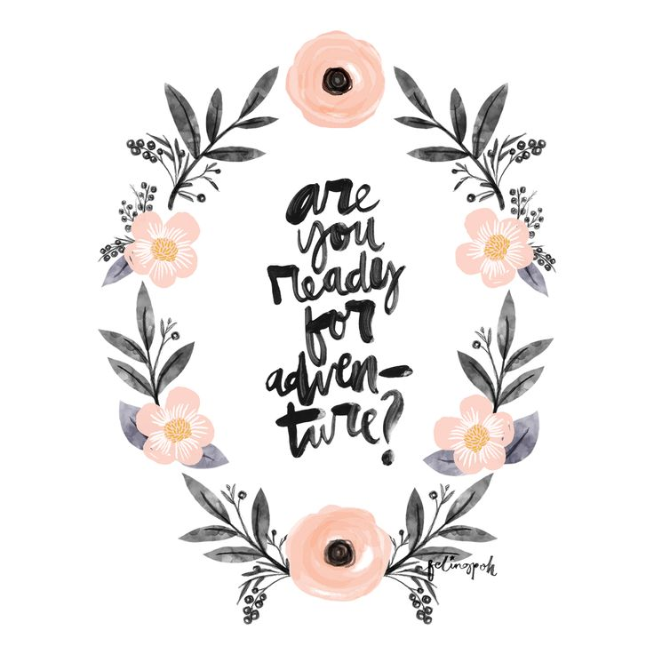 """Are You Ready For Adventure"" Calligraphy & Flowers Wreath instagram.com/felingpoh"