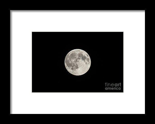 The Moon On Black Night Sky Framed Print