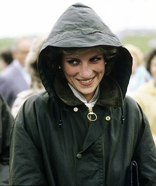 Diana in her Barbour raincoat