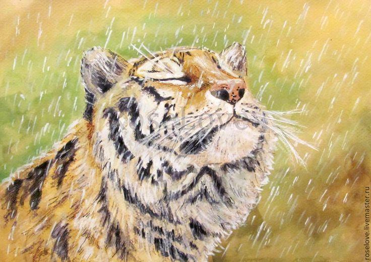 """Купить Картина """"Наслаждаясь жизнью..""""Акварель.Пастель.Животные.Тигр.Дождь. - картина, картина в подарок"""