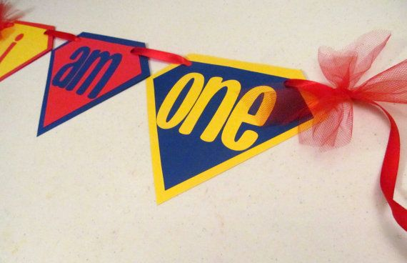 SUPERMAN First Birthday High Chair Banner for by BananaLala