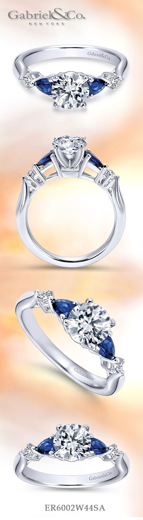 Gabriel & Co.-Voted #1 Most Preferred Fine Jewelry and Bridal Brand. Meet Carrie - Carrie 14k White Gold Round 3 Stones Engagement Ring with diamond and sapphire side stones to highlight your flawless center stone.