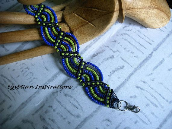 Micro macrame bracelet in blue and lime by EgyptianInspirations, $29.99