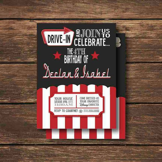 Have fun inviting friends to your Drive-In movie party with this printable Invitation file! Print at home on your own printer, OR have these