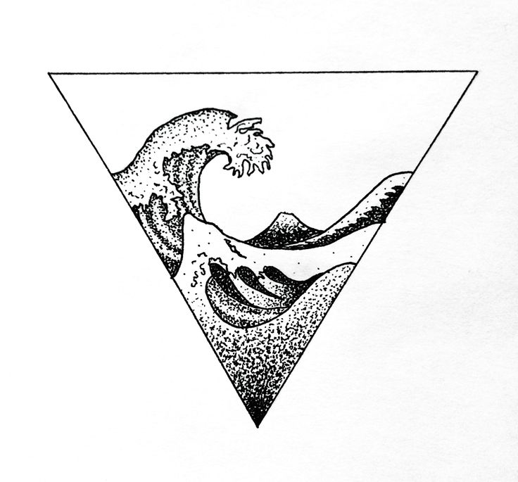 Wave Hokusai geometric tattoo dotwork art design