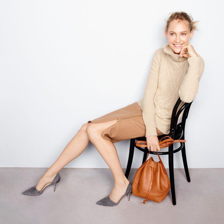 J.Crew Looks We Love: women's Cambridge cable turtleneck sweater, zip pencil skirt, Downing bucket bag and Elsie suede d'Orsay pumps.