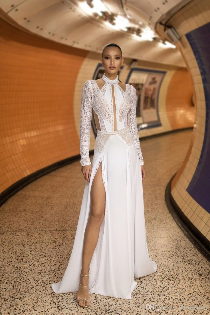 Lior Charchy Lace Long Sleeve Wedding Dresses 2019 High Collar Side Splits Sexy Boho Wedding Dress Plus Size Bridal Gowns