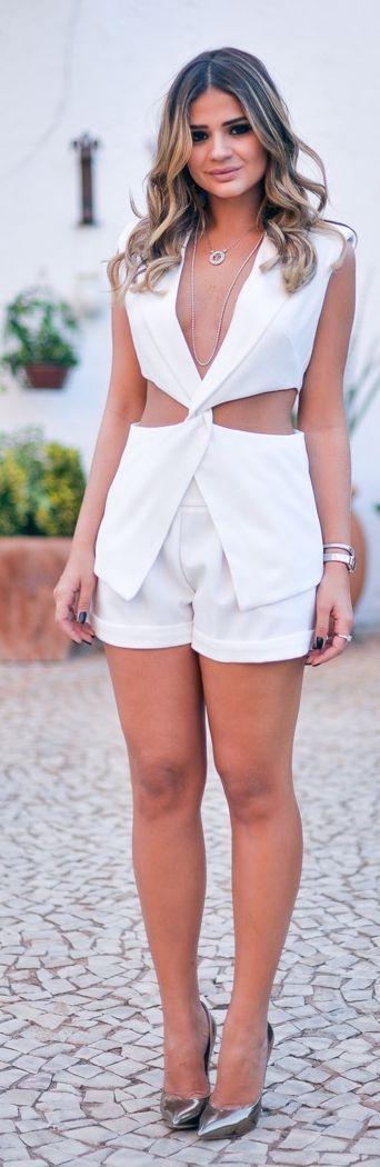 Blog Da Thassia White Cutout Suit