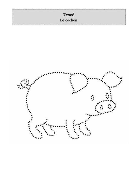 Fiche d'activité de niveau maternelle de type graphisme - tracé suivant pointillés - le cochon