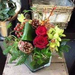 Winter Flower Arrangement in Glass Cube Vase