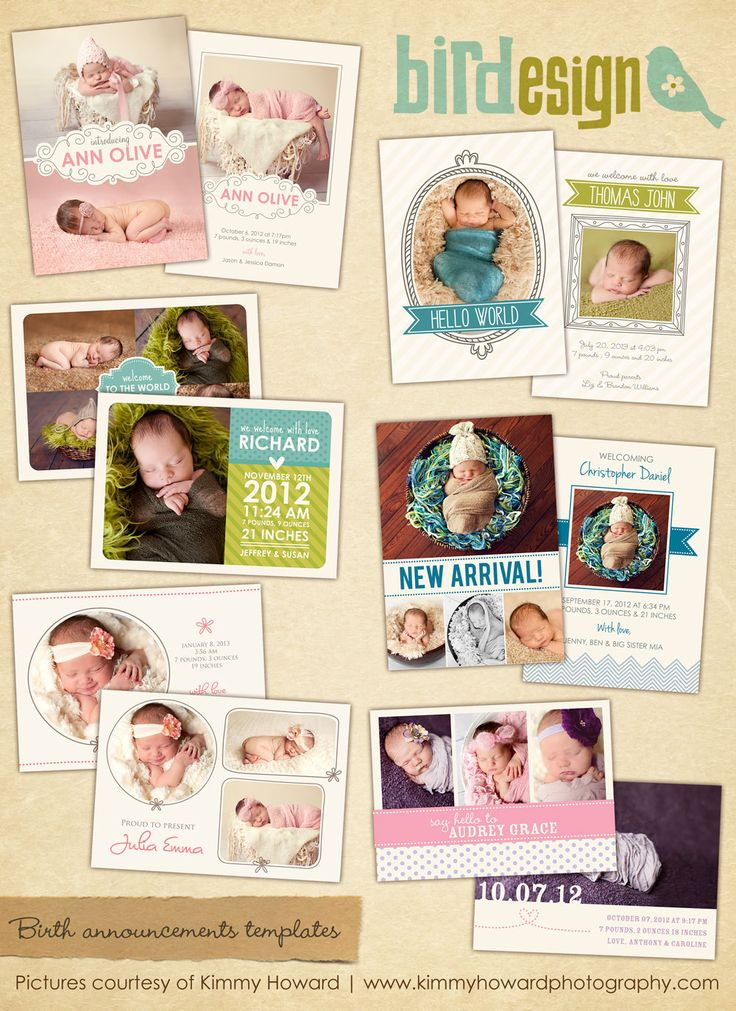Birth announcements cards templates Sweet Sunrise por birdesign