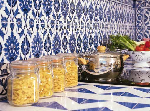 Blue and White Tiled Kitchen Tiles Painted by Hand