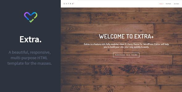 Wordpress version also available.  Extra+ is a beautiful multi-purpose HTML template. It is perfect for the trend setting business or creative agency.  Key Features:  Future proof HTML5 / CSS3 c...