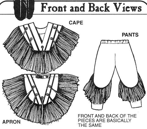 """""""Pattern"""" for a grass dance outfit. No tutorial, but the fringes are typically made of yarn that is sewn on in wads or ribbons. When the grass dancer moves and sways the fringes move like long grass in the wind, beautiful!"""