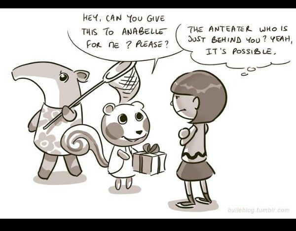 Animal crossing new leaf. This happens to me all the time were they ask me to deliver it to the person behind them.