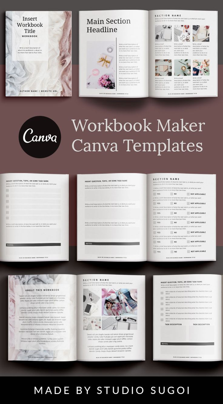 SILVER Canva Workbook Template with Worksheets Checklists
