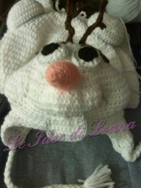 Cappello Olaf e cocoon uncinetto lana baby tg 0/3 mesi.