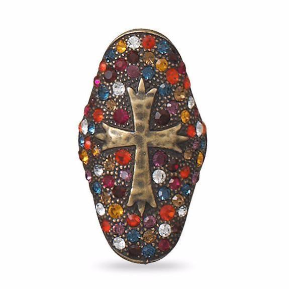 Multicolor Swarovski Crystal Cross Ring