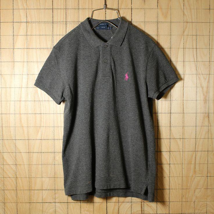 Ralph Lauren/古着/グレー/コットン100%鹿の子生地ワンポイントポロシャツ/メンズM