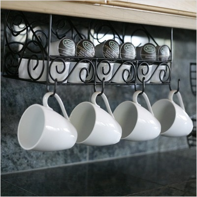 Mesa Home Under The Cabinet Three Compartment Coffee Wall Mounted Pod And Mug Storage