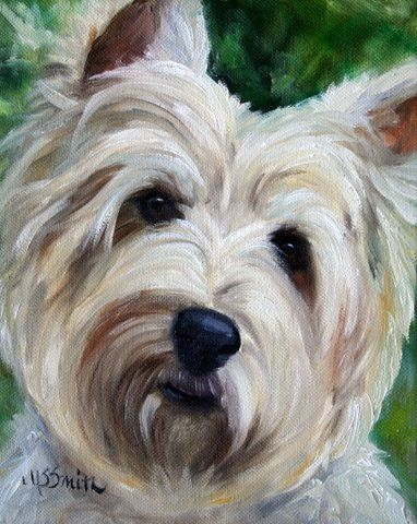 West Highland Terrier dog puppy art oil paintings by mary sparrow smith from hanging the moon, home decor, gift ideas, prints