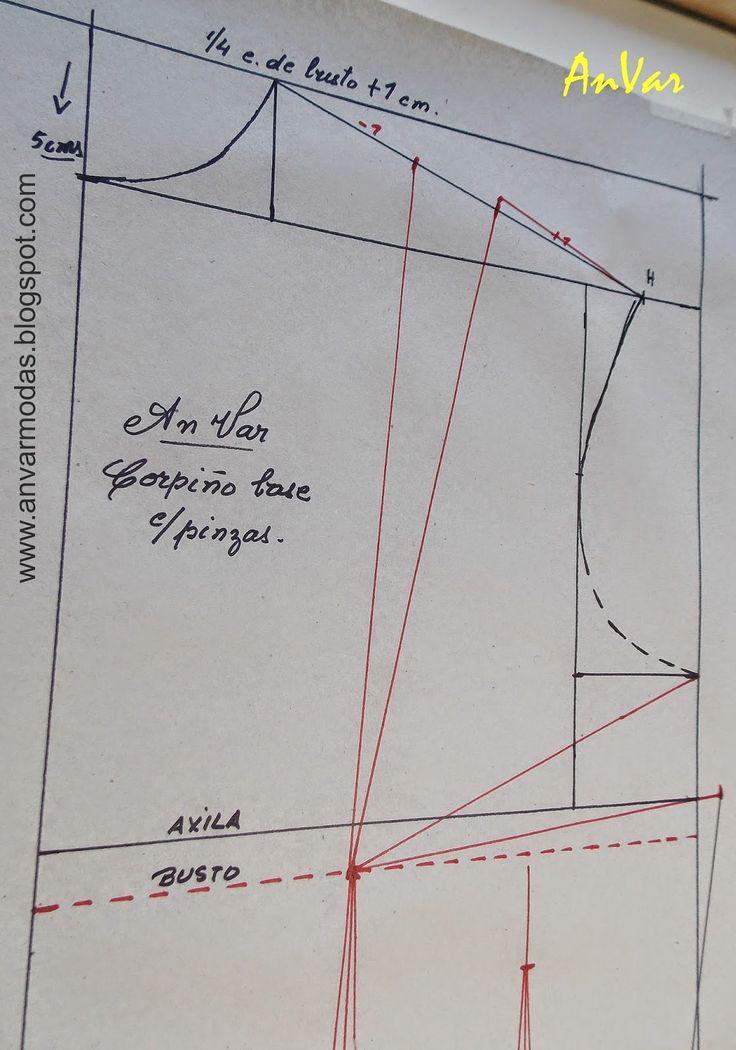 AnVar - Te enseño a coser: PATRÓN DE CORPIÑO CON PINZAS