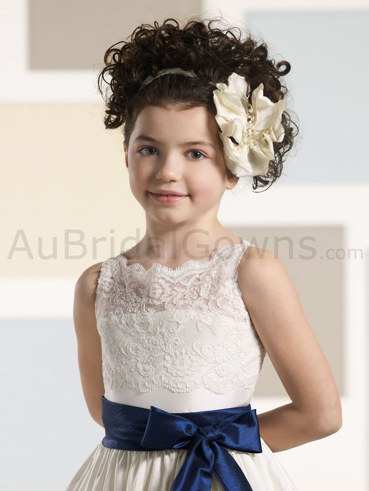 Taffeta Scalloped Sabrina Neckline Lace Overlay Illusion Bodice Tea-length Flower Girl Dress