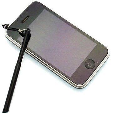 iPhone Uttrekkbar Berøringspenn + Støvbeskytter (Sort)