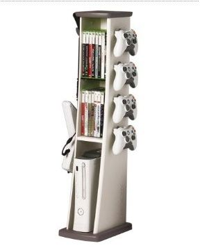 Cool Xbox 360 Gaming Tower Organizes Your Gaming Games and Accessories including Console , Control Pads and Guitar.