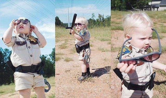 Pin for Later: This Little Boy Dressed Up in Homemade Halloween Costumes Is Going to Be Your New Obsession Lt. Dangle From Reno 911!